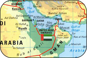 Location of United Arab Emirates in World Map